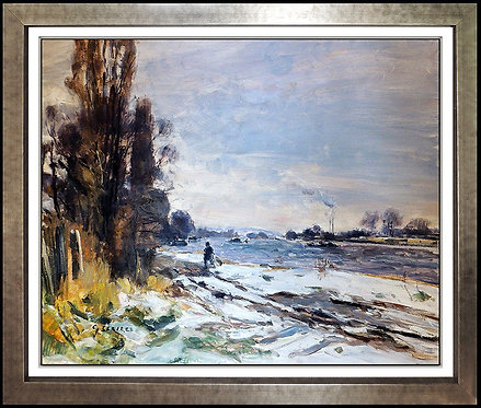 """Original Neige A Auberville"" by Gaston Sebire"