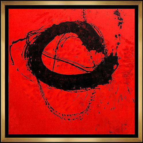 """Original Abstract on Red"" by Jamali"