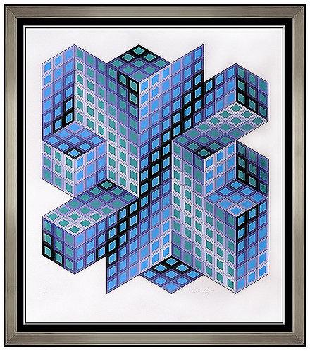 """Cobalt Cubism"" by Victor Vasarely"