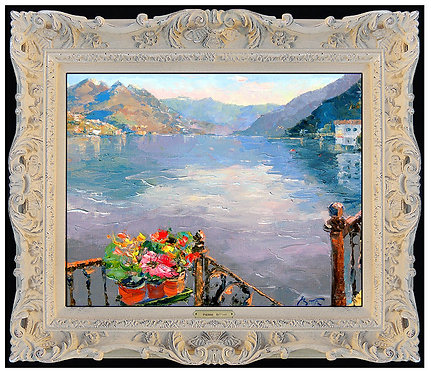 """Original Patio Over Lake Como"" by Pierre Bittar"