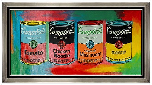 """Original Tribute to Andy Warhol - 4 Campbell's Soup Cans"" by Steve Kaufman"