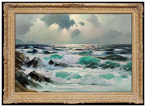 """Original Evening Seascape"" by Alexander Dzigurski"