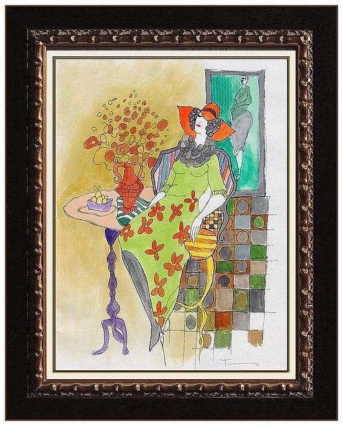"""Original Lady With Vase In Green"" by Itzchak Tarkay"