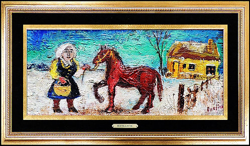 """Original Peasant Girl with Red Pony"" by David Burliuk"
