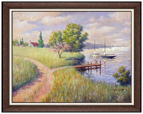 """Moored Sailboats"" by Arthur Sarnoff"
