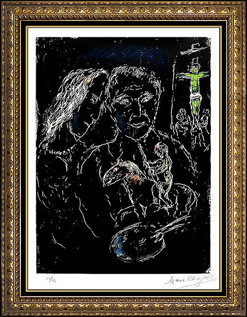"""""""The Artist on a Black Background (M.683)"""" by Marc Chagall"""