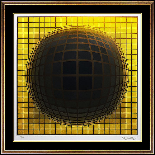 """Domb B- Yellow"" by Victor Vasarely"