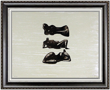 """""""Color Lithograph on paper titled, """"Three Reclining Figures with"""" by Henry Moore"""