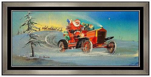 """Santa Riding In Style - Original"" by Peter Ellenshaw"