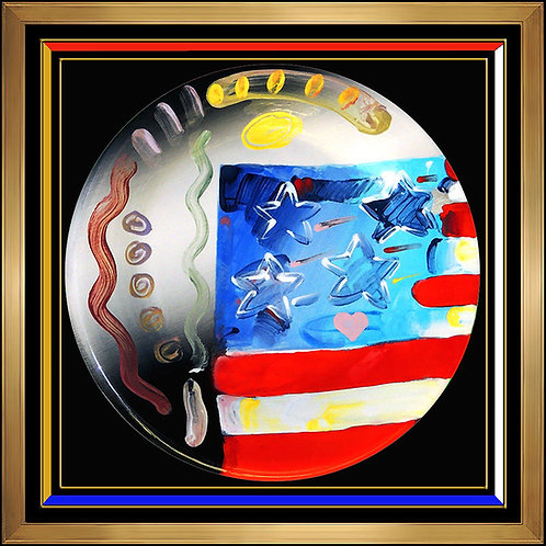 """Original Flag with Heart Ceramic"" by Peter Max"