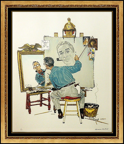 """Triple Self Portrait"" by Norman Rockwell"