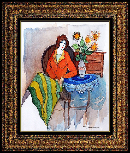 """Seated Lady With Flowers"" by Itzchak Tarkay"