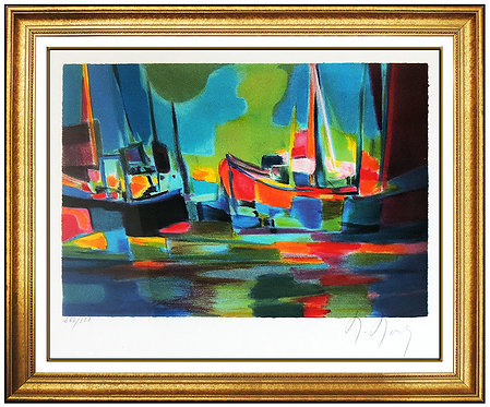 """Boats in Harbor"" by Marcel Mouly"