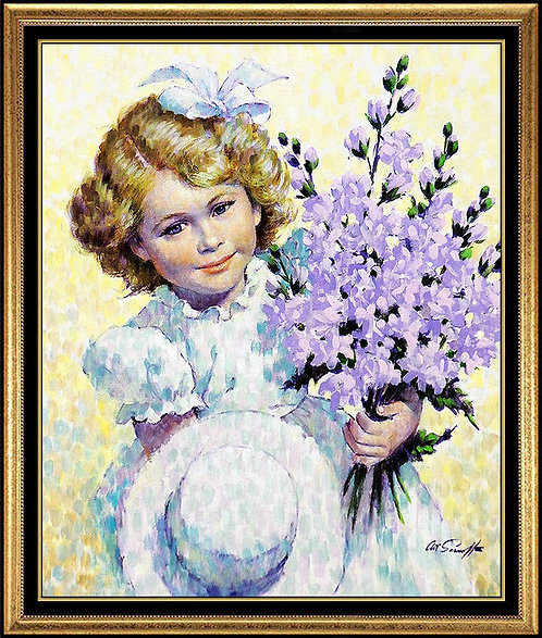 """Girl with Delphiniums"" by Arthur Sarnoff"