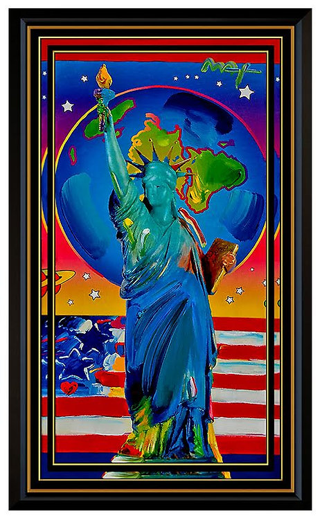 """Original Statue of Liberty with Earth and Flag"" by Peter Max"