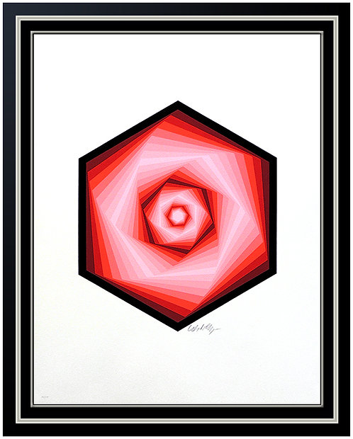 """Red Vega Spiral"" by Victor Vasarely"