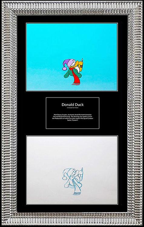 """Donald Duck Skating - Walt Disney Production Cel"""