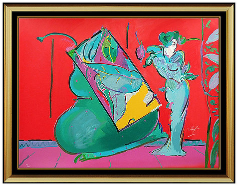 """""""Lady on Red With Floating Vase"""" by Peter Max"""