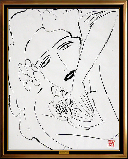"""""""Original Resting with Flowers"""" by Walasse Ting"""