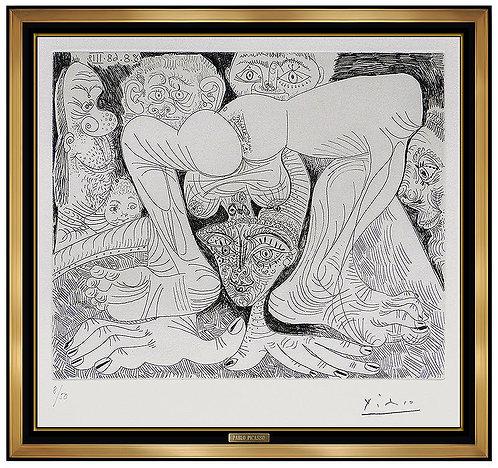 """""""Femme Acrobate Au Maquillage Paillete et Spectateurs"""" by Pablo Picasso"""