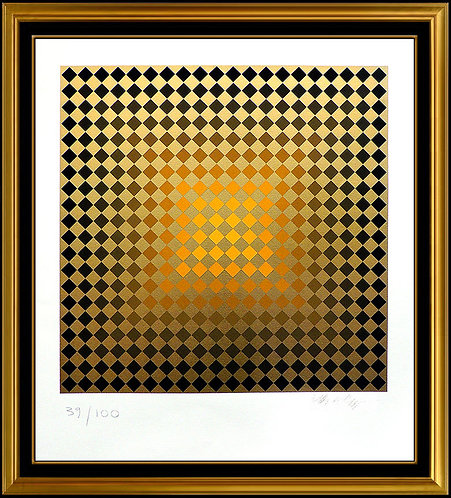 """""""Golden Checks"""" by Victor Vasarely"""