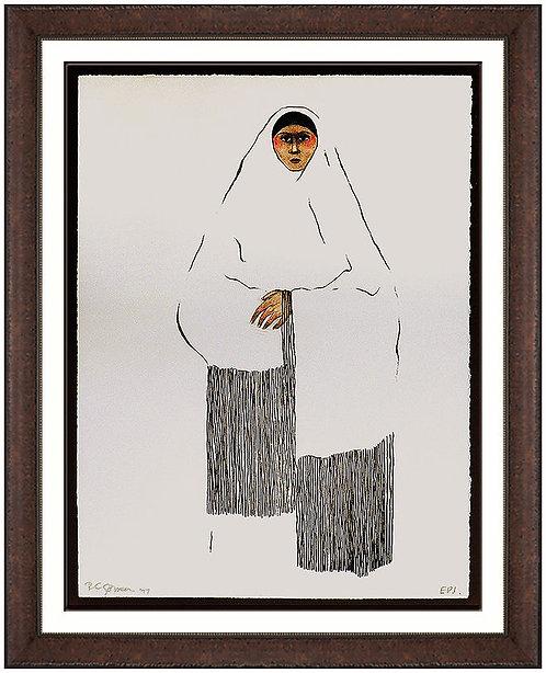 """""""Taos Pueblo Woman"""" by R.C Gorman"""
