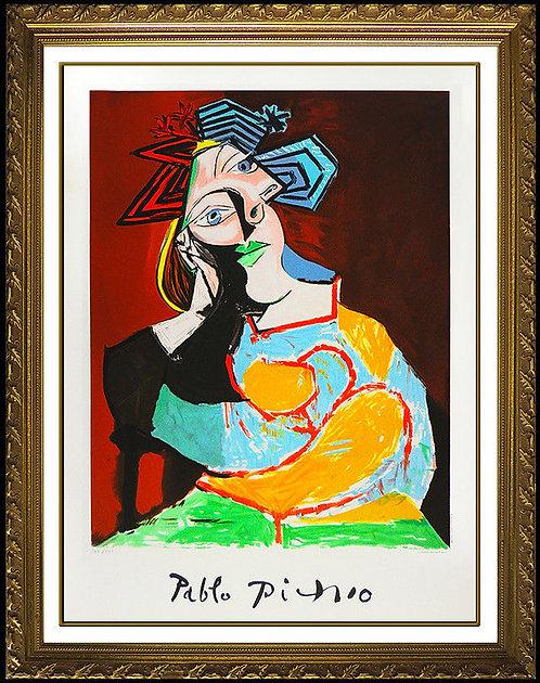 """""""Femme Accoudee au Drapeau Bleu et Rouge"""" by Pablo Picasso"""