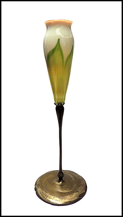 """Favrile Glass Pulled Feather Trumpet Vase"" by Louis Comfort Tiffany"