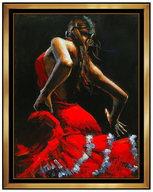 """Dancer in Red with White - Hand Embellished"" by Fabian Perez"