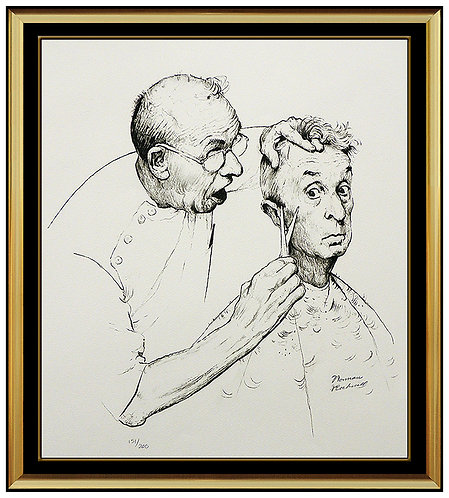 """""""At The Barber"""" by Norman Rockwell"""