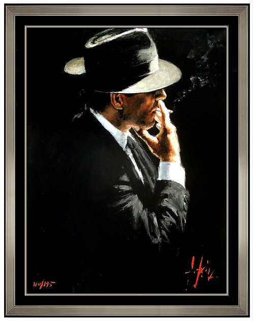 """Smoking Under The Light II - Hand Embellished"" by Fabian Perez"