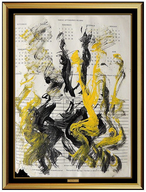 """Original Swirls of Yellow and Black"" by Purvis Young"