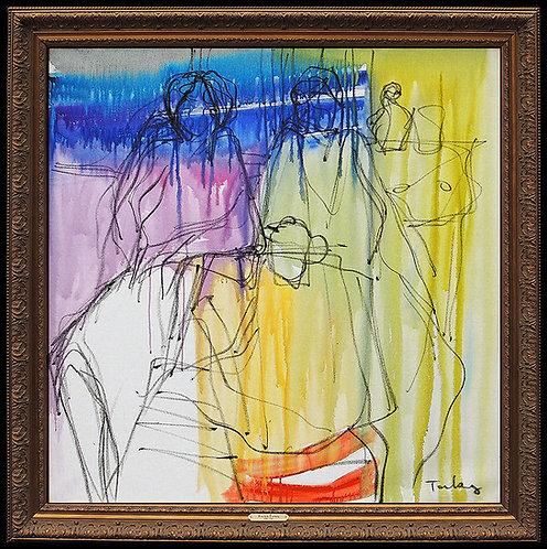 """Original Abstract Cafe"" by Itzchak Tarkay"