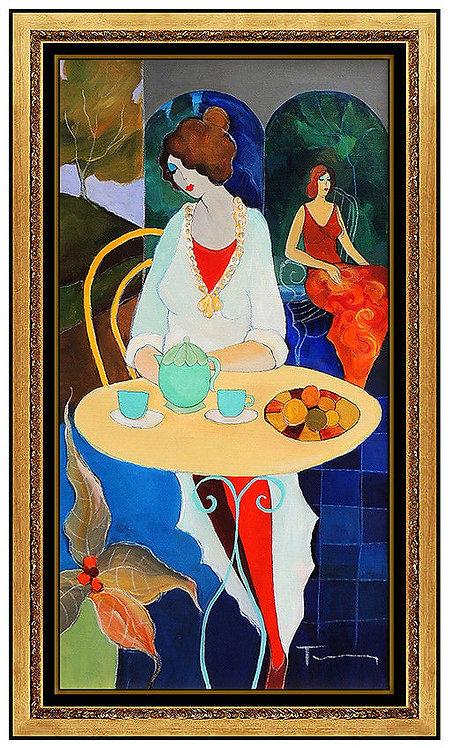 """Original Tea Time"" by Itzchak Tarkay"