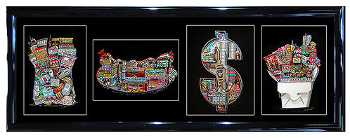 """New York 4 Piece Set"" by Charles Fazzino"