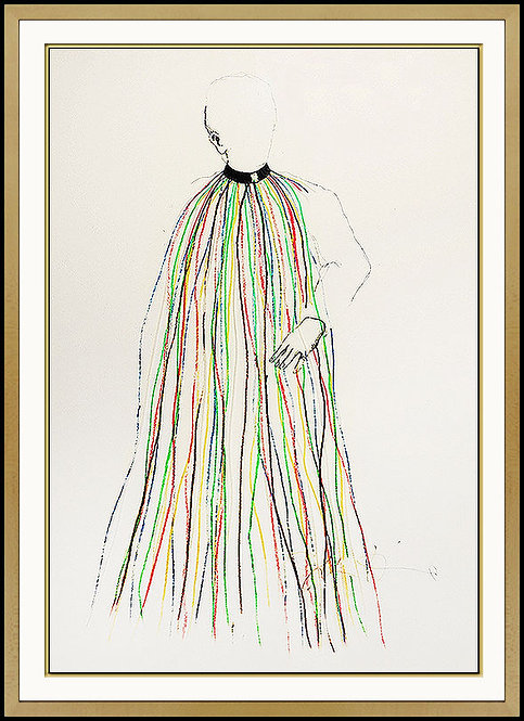 """Dorian Gray in Multi-colored Vinyl Stripe Cape"" by Jim Dine"