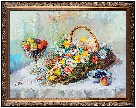 """Original Basket of Flowers"" by Fil Mottola"