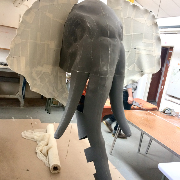 Massive static elephant puppet head made from my original pattern scaled up.