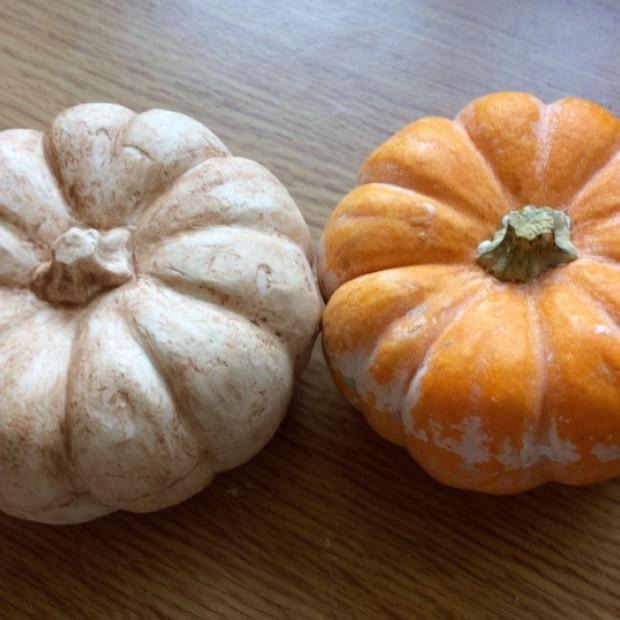 Pretty plaster pumpkin cast next to original.