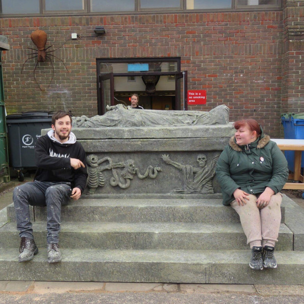 Matt and Myself on the finished tomb all proud of ourselves. Made by the Plague Pits team!