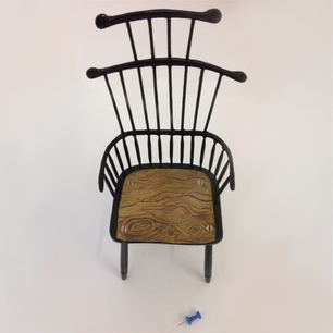Finished 1:6 scale Jason Mosseri chair model with a push pin for size reference.