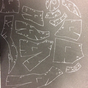 Pattern pieces drawn out on plastazote ready to be cut out and evoed together.