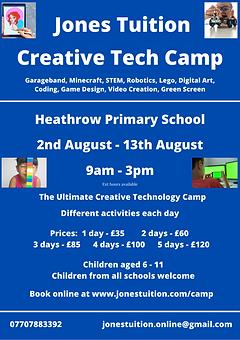 SUMMER Creative Tech Camp poster