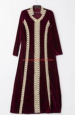 Velvet Robe with Lace Trim