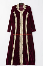 Velvet Robe with Lace Trim