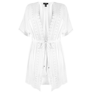 White cardigan with lace and embroidery