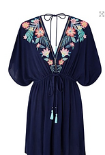 Navy blue tunic with flowers embroidery