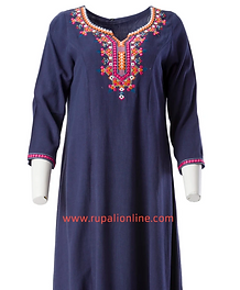 Embroidered Tunic (Navy/Cream/Green)