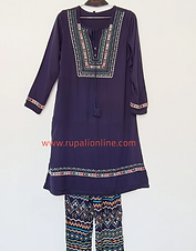 Navy Embroidered Tunic Set