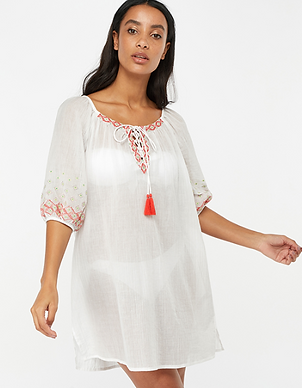 White cotton tunic with red embroidery